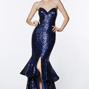 Navy Sleeveless Evening Trumpet Long Dress